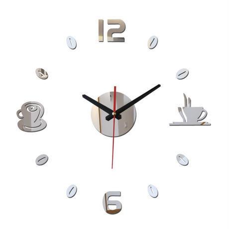 新品送料込★ 時計 壁掛け 3D 鏡 ミラー コーヒー 豆 カップ 北欧モダン DIY お洒落 面白 輸入雑貨 インテリア 高性能