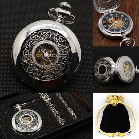 手巻き式懐中時計パッケージ フラワーデザイン シルバー ポケットウォッチ ボックス付きでギフトにも最適