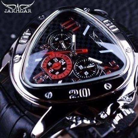 Jaragar ジャガー メンズ腕時計 高級 レザー 機械式 三角 トップブランド(ブラックゴールデン)