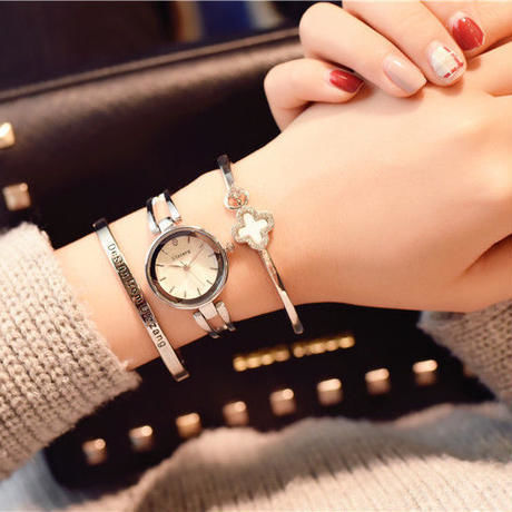 Ulzzang 2色 ラグジュアリー ulzzang 海外ブランド クォーツ ステンレススチール エレガント ブレスレット腕時計