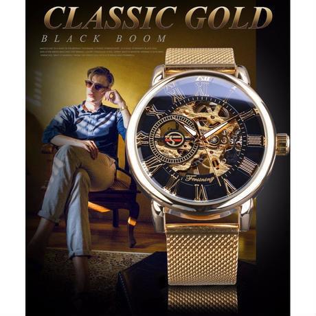 FORSINING 透明ケース ゴールデンステンレス 機械式時計 高級スケルトンタイプ ブラックゴールデン