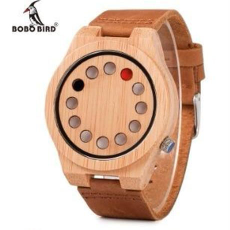 BOBO BIRD デザイン竹製腕時計  レザーバンド クォーツ 自然に優しい天然木 スタイリッシュ