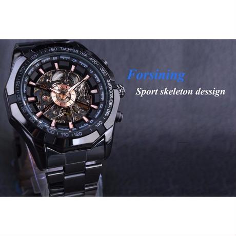 FORSINING スポーツレーシングシリーズ スケルトン ステンレス鋼 機械式 高級メンズ腕時計