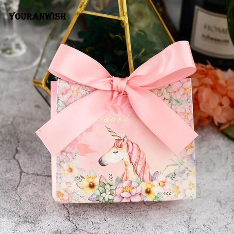新品送料込 ギフトボックス 20個セット バッグ型 ユニコーン リボン付 バレンタイン お誕生日会 結婚式 ラッピング プレゼント