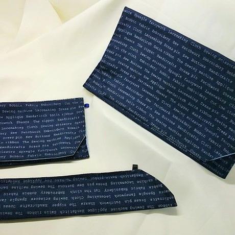 031KO-LWM-A(S) 御朱印袋(御朱印帳約18.5cm×12.5cm) 英字柄 紺 セット