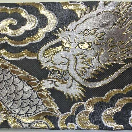 010BG-LWK-A 金襴 銀竜 黒(銀龍) (約18.5cm×12.5cm御朱印帳対応)