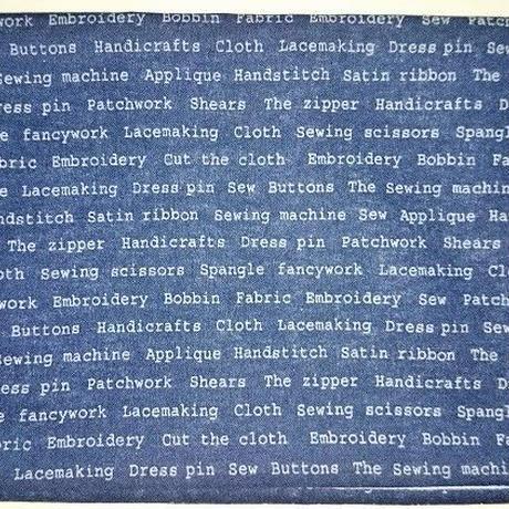 031KO-LWM-A 御朱印帳袋(御朱印帳約18.5cm×12.5cm) 英字柄 紺