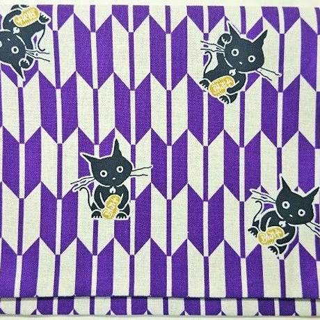 038BT-LWM-C 御朱印帳袋(御朱印帳約18.5cm×12.5cm) 小判猫 破魔矢 紫