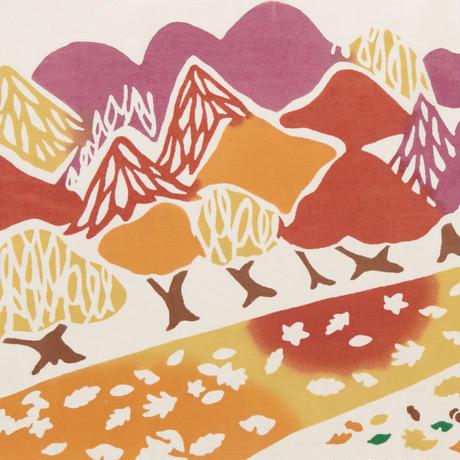 手ぬぐい|秋の並木道