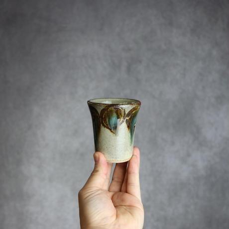 7005037 【北窯 宮城正享工房】緑釉・線彫 丸紋 Vカップ(小)①