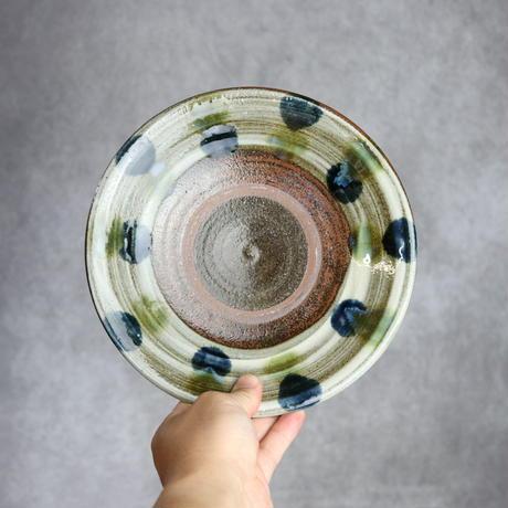 7010007 【漂窯】緑釉点打 7寸皿⑥