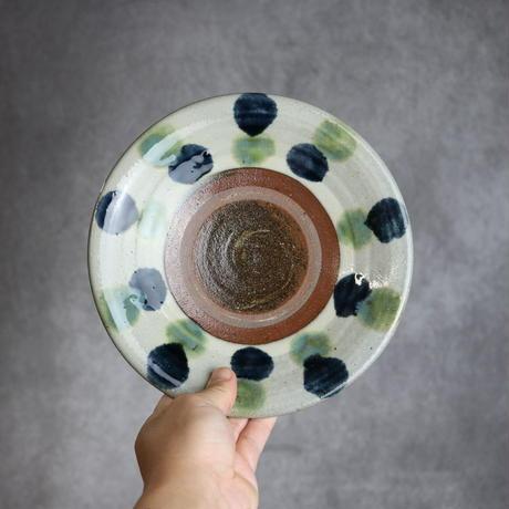 7010007 【漂窯】緑釉点打 7寸皿④