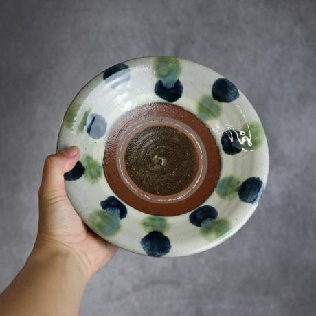 7010007 【漂窯】緑釉点打 7寸皿⑤