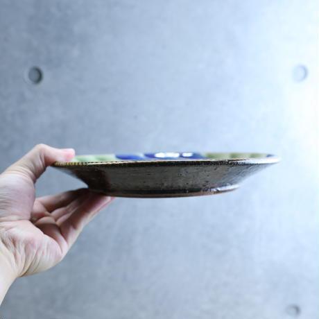 【陶芸こまがた】7寸リム皿 デイゴ模様(青・緑)