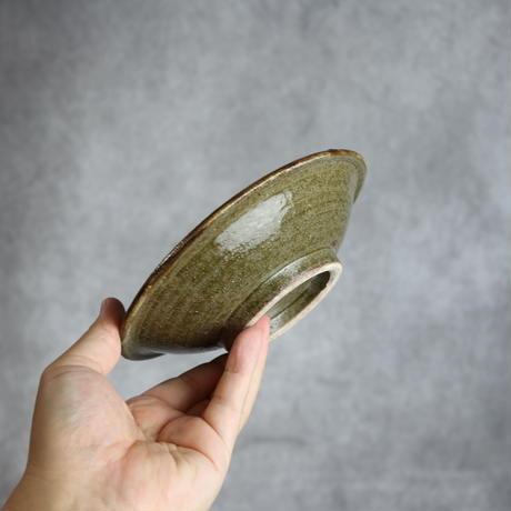 7013011 【榮一工房】緑釉 飛鉋 5寸皿①