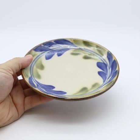 7006011 【陶芸こまがた】5寸皿 デイゴ柄(青・緑)