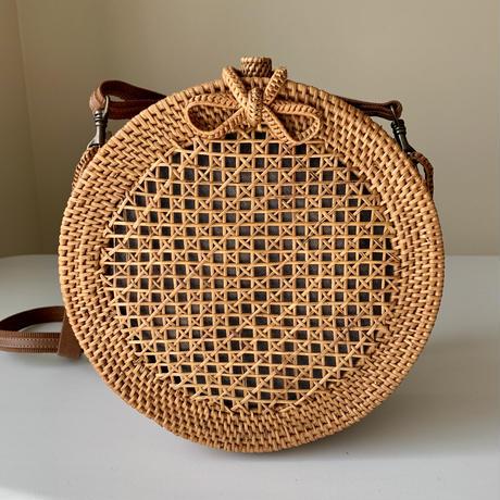 ラウンドショルダーバッグ 透かし編み