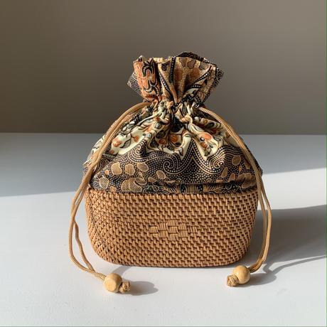 バティック布とアタかごのきんちゃく3種(ブルー/クリーム/ブラウン)   i-521