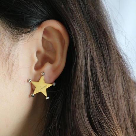star dot _ two tone color  pierce/earring