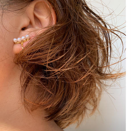 【nikori】 four pearl  smile gold pierce/ earring(1ケ販売)