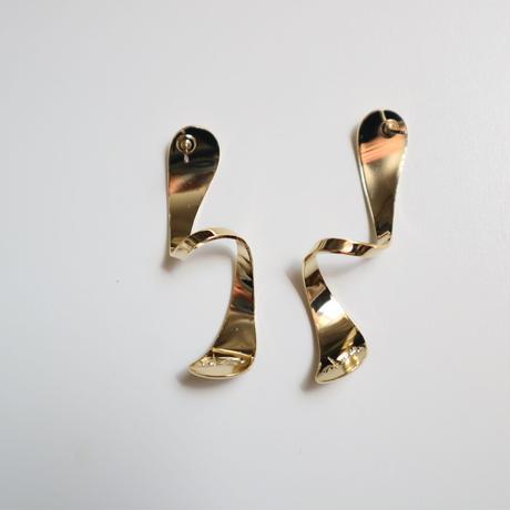 spiral  gold  _   pierce / earring