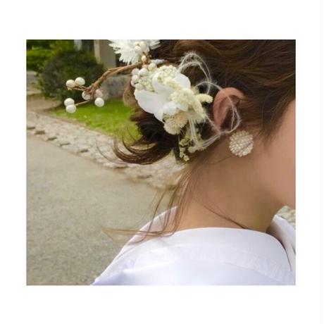 【nikori】 ohana  earring white/orange/black