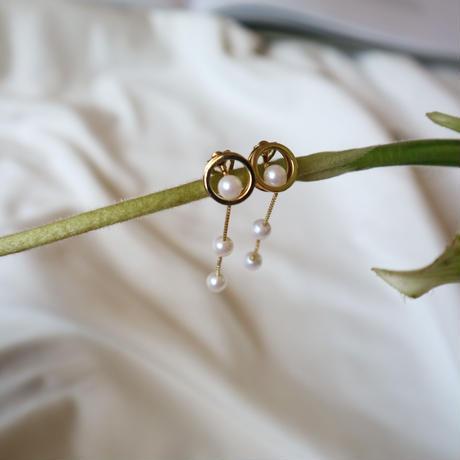 【nikori】 threepearl circle silver pierce/ earring