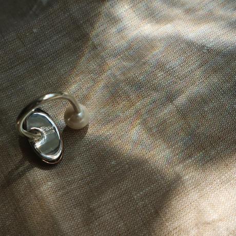 Paw silver ring shipou/perl    #0015R