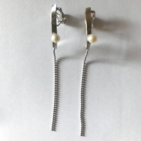 twist parl chain_  silver pierce / earring