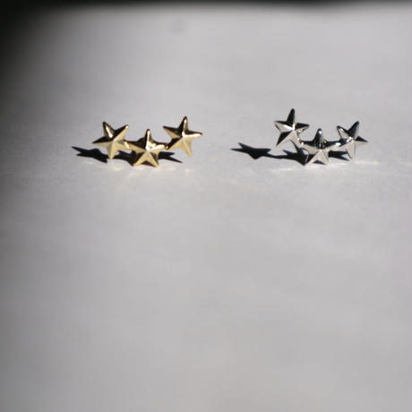 three stars  smile pierce/ earring silver(1ケ販売)