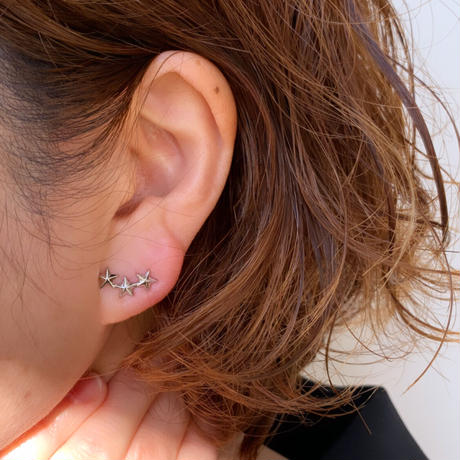 【nikori】 three stars  smile gold pierce/ earring(1ケ販売)