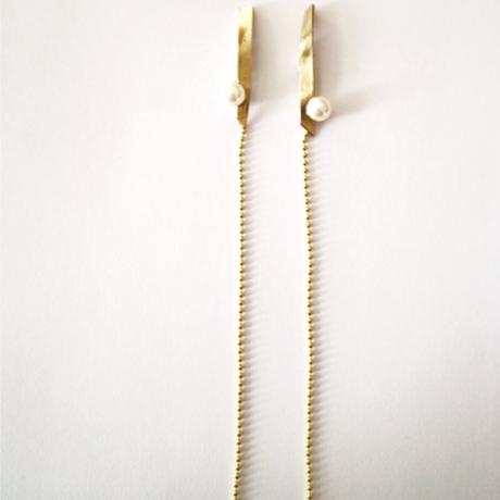 twist parl chain_  gold pierce / earring
