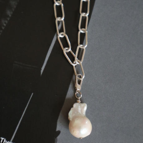 Paw silver necklace top(pearl) 0011NT