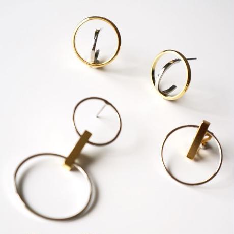 one circle bar pierce / earring
