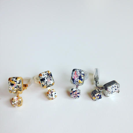 【nikori】 painting _mat  gold pierce  / earring