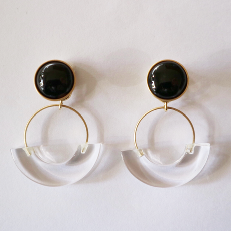 七宝semicircle_black pierce/earring