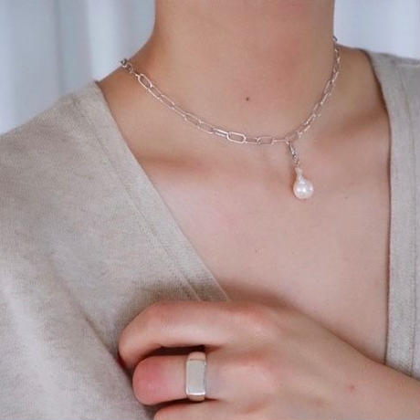 Paw silver necklace top(pearl) #0011NT