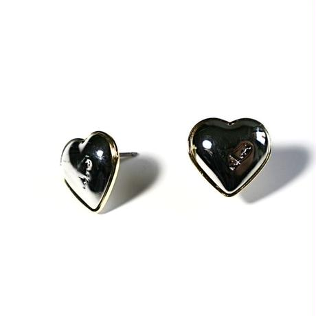 metal heart _ gold top × silver  pierce / earring