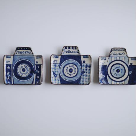 染付 カメラ豆皿 / A ストライプ