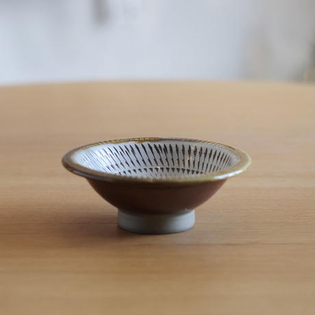小鹿田焼(柳瀬晴夫窯) 4寸深皿 茶