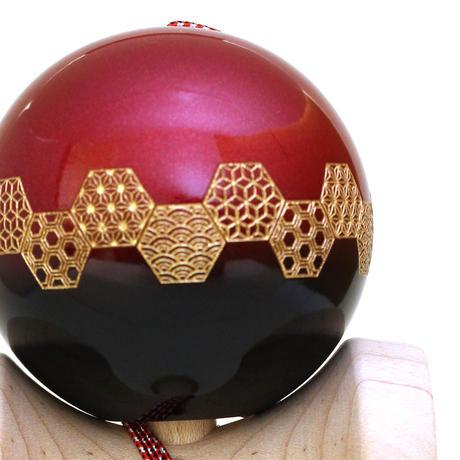 【New】日本の職人が最高の技を施した木のおもちゃけん玉「錦玉〜横段 吉祥(よこだん  きっしょう)赤〜」