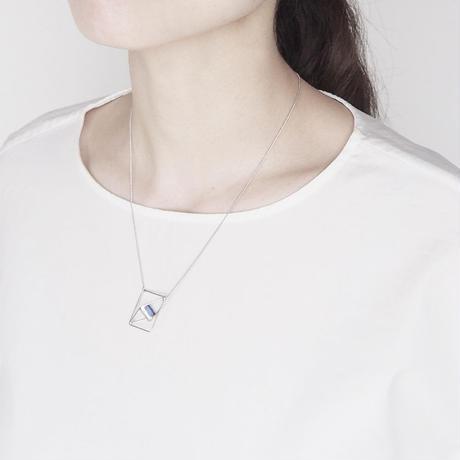 square necklace/light blue