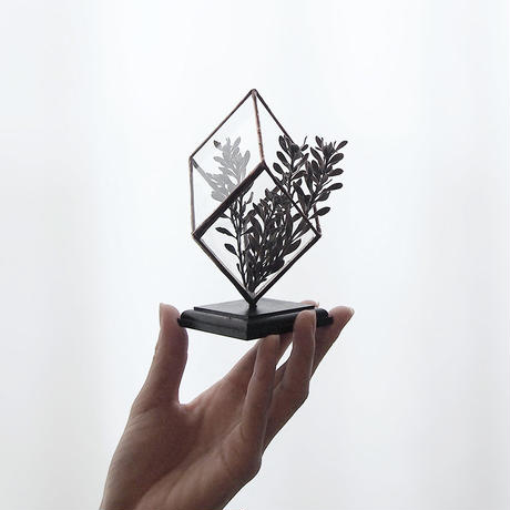 mini terrarium/rhombohedron/antique