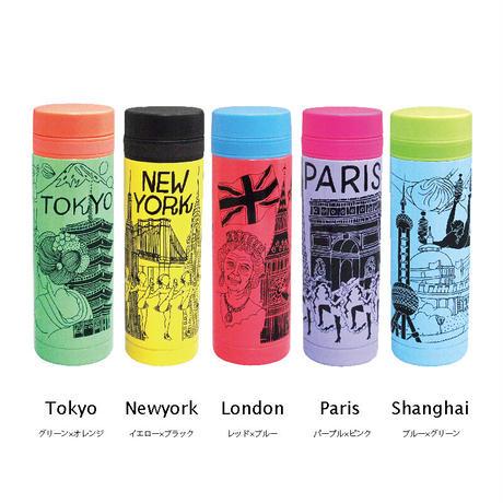 真空シティボトル AY010-250-1|TOKYO|グリーン×オレンジ(20個セット)