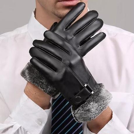 スマートフォン操作対応 PU レザー手袋