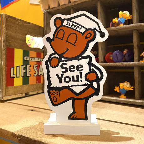 Sleepy Bear wood table sign