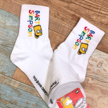 The Simpsons Socks Bart Name White