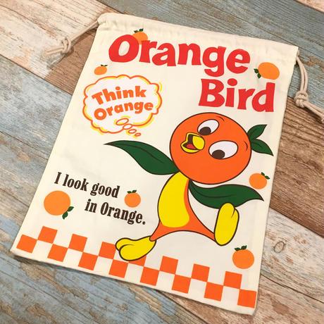 Orange Bird Drawstring Bag
