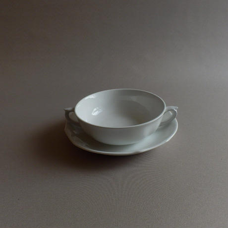 NP077 ARABIA 白磁スープカップ&ソーサー