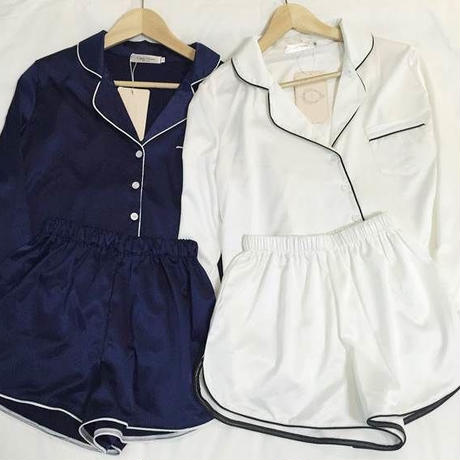 パイピングサテンシャツパジャマ *ネイビー/ホワイト